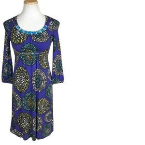 Boden Floral Print Empire Waist Beaded Dress 8